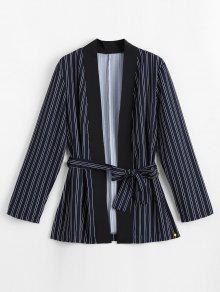 Belted Stripes Kimono Blouse - Listras S