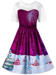 Weihnachten Lace Yoke Swing Dress - Violet Rosa M