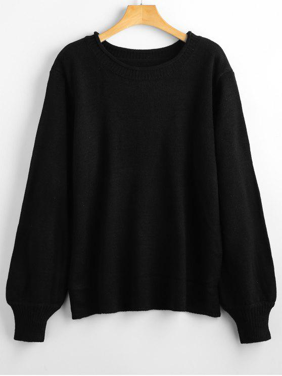 trendy Long Sleeve Oversized Pullover Sweater - BLACK ONE SIZE