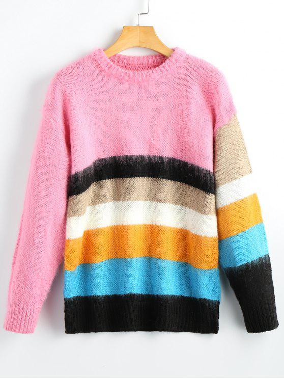 fashion Fuzzy Colorful Striped Pullover Sweater - STRIPE ONE SIZE