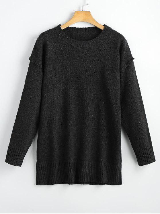 fancy Heathered Oversized Pullover Sweater - BLACK ONE SIZE