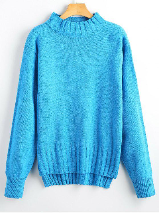 unique High Low Mock Neck Pullover Sweater - BLUE ONE SIZE