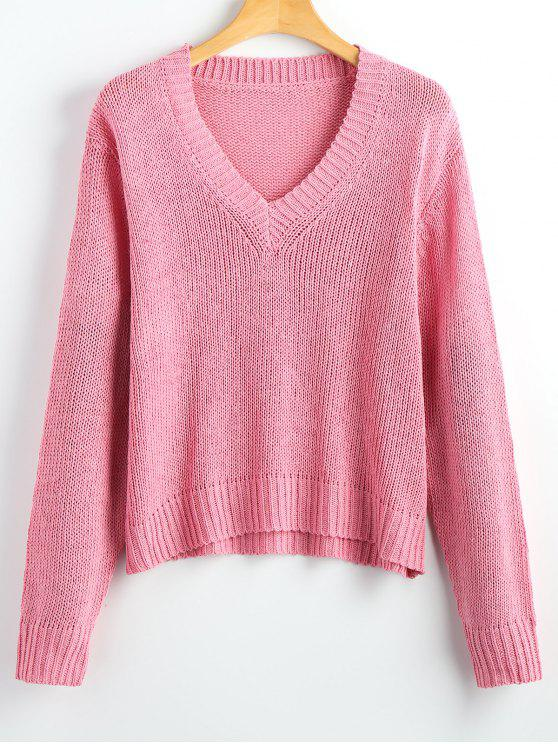sale Loose V Neck Pullover Sweater - PINK ONE SIZE