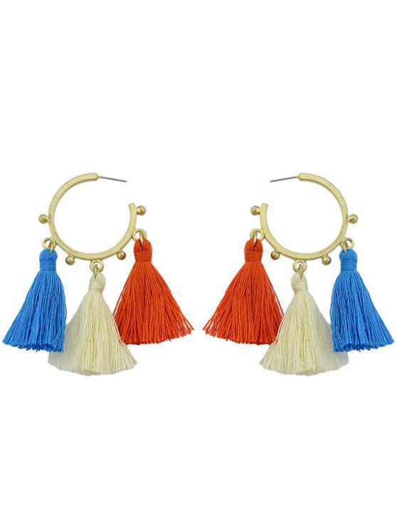 chic Circle Tassels Alloy Hoop Drop Earrings - GOLDEN