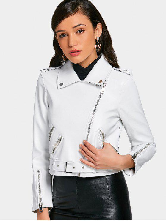 affordable Asymmetric Zipper Belted Faux Leather Jacket - WHITE M
