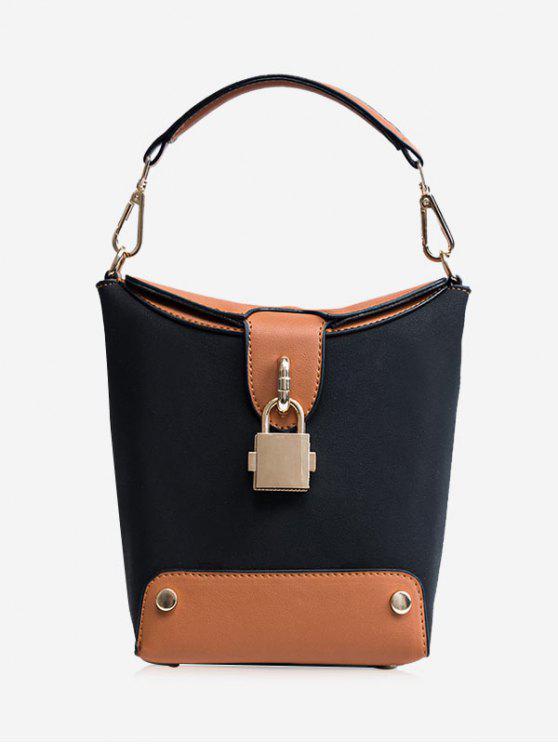 sale Color Block Lock Closure Bucket Bag - BLACK