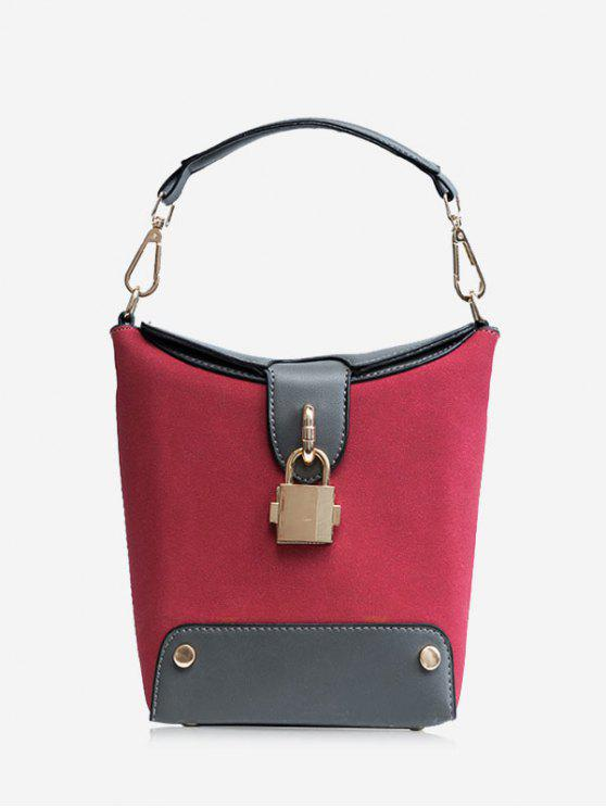 buy Color Block Lock Closure Bucket Bag - RED