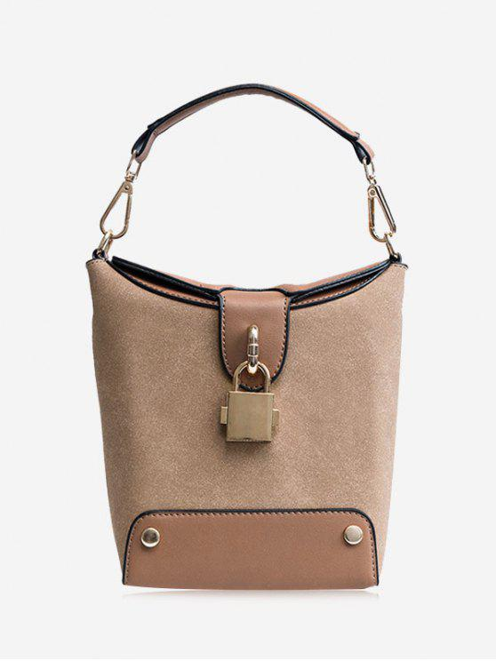 women Color Block Lock Closure Bucket Bag - KHAKI