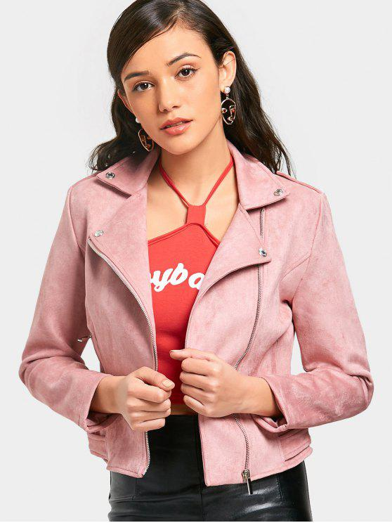 lady Asymmetric Zippered Faux Suede Jacket - PINK M