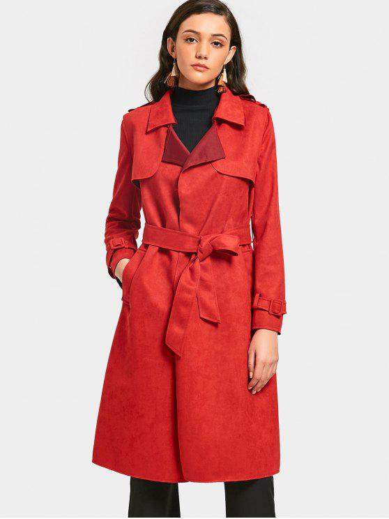 trendy Back Slit Belted Coat with Pockets - RED S