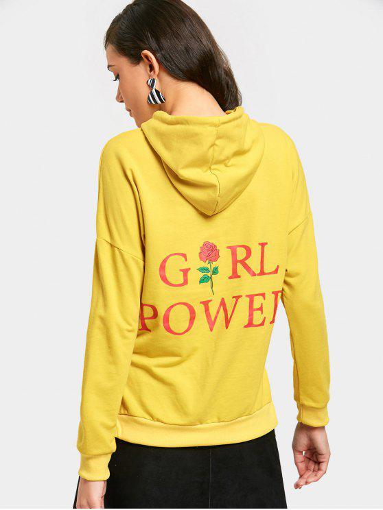womens Letter Flower Graphic Side Slit Hoodie - YELLOW M