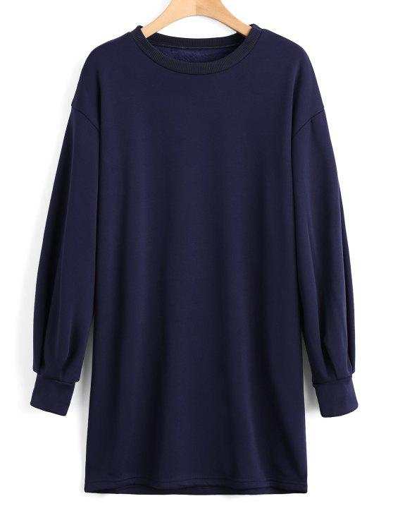 unique Long Sleeve Longline Casual Sweatshirt - PURPLISH BLUE S