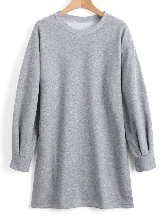 shops Long Sleeve Longline Casual Sweatshirt - GRAY S