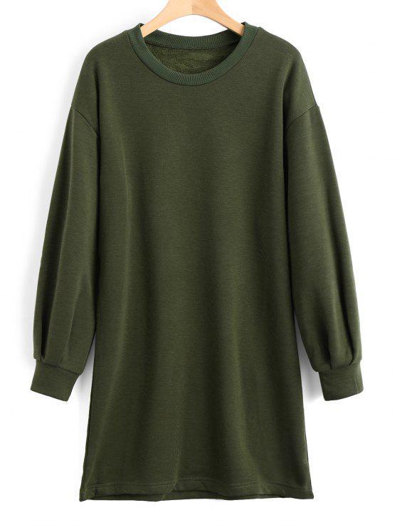 chic Long Sleeve Longline Casual Sweatshirt - ARMY GREEN L