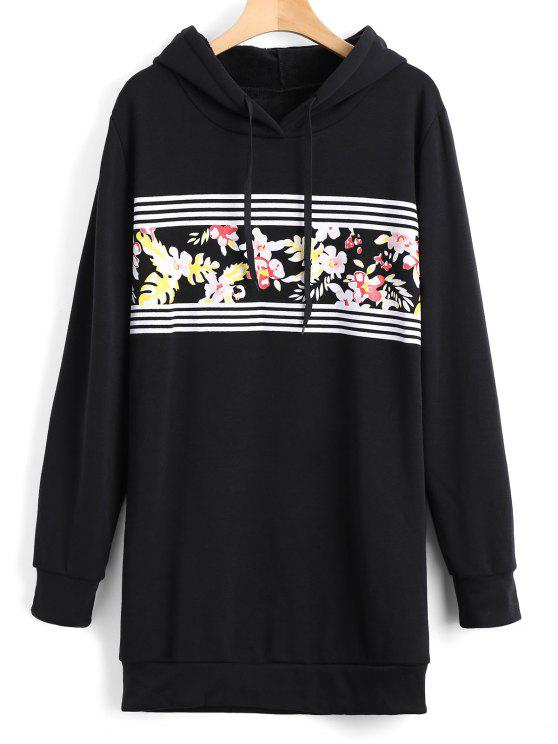 ladies Longline Floral Stripes Panel Hoodie - BLACK L