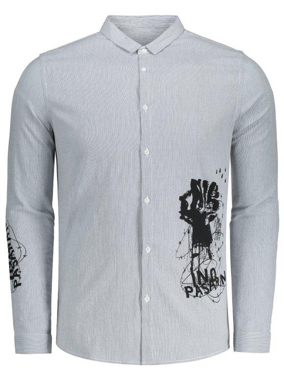 trendy Printed Button Up Striped Shirt - GREY AND WHITE 3XL