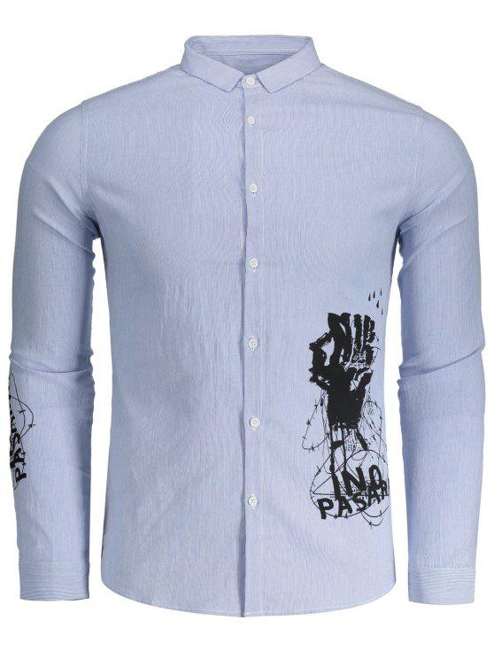 Printed Button Up Striped Shirt Blue And White Shirts 2xl