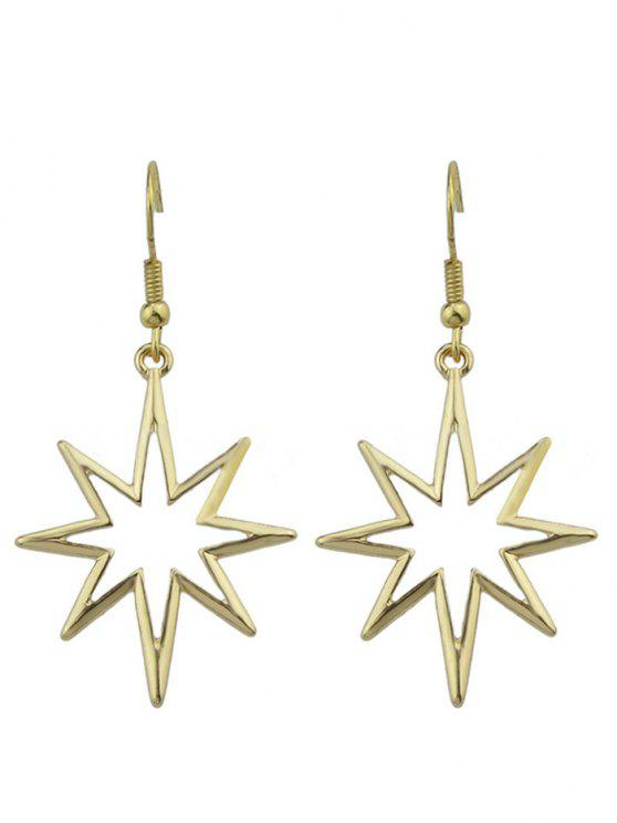 ladies Geometric Alloy Hollow Out Pendant Earrings - GOLDEN