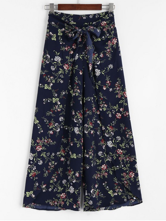 lady Bowknot Layered Wide Leg Pants - FLORAL ONE SIZE