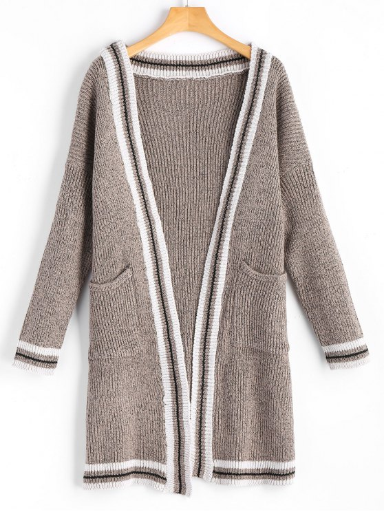 trendy Contrasting Open Front Cardigan with Pockets - KHAKI ONE SIZE