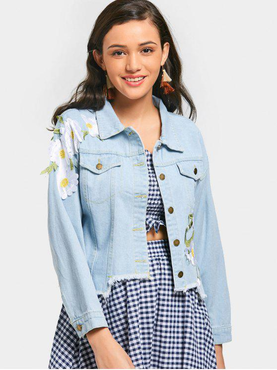 women's Flower Appliqued Frayed Hem Denim Jacket - LIGHT BLUE S