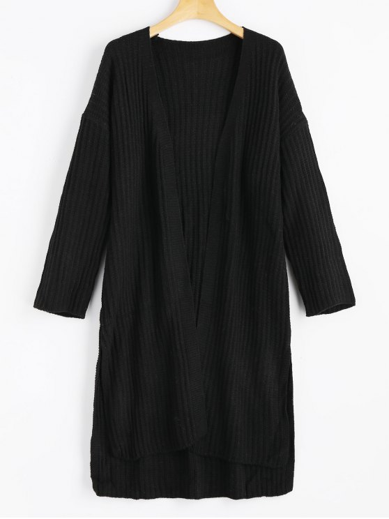 b3a773a940d 41% OFF  2019 Slit Open Front High Low Cardigan In BLACK