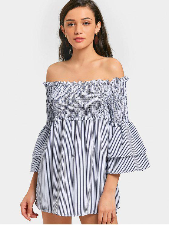 lady Off Shoulder Flare Sleeve Striped Mini Dress - STRIPE S