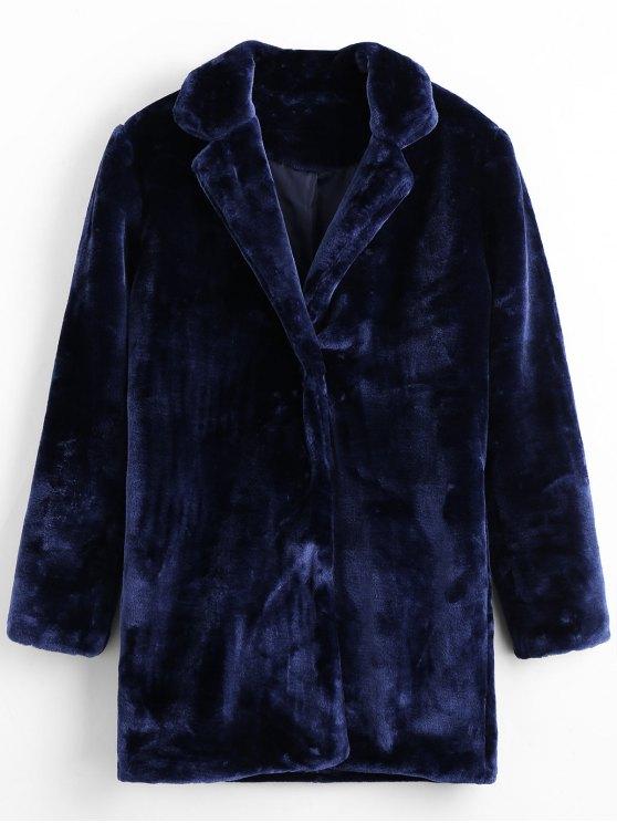 best Snap Button Faux Fur Coat with Pockets - ROYAL L