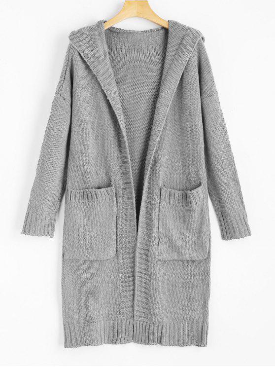online Hooded Pockets Open Front Cardigan - GRAY ONE SIZE