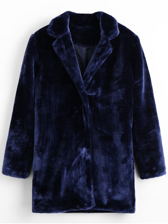 hot Snap Button Faux Fur Coat with Pockets - ROYAL M