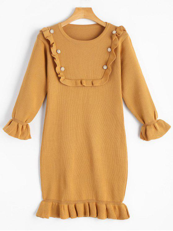 lady Beading Ruffled Flare Sleeve Knitted Dress - GINGER ONE SIZE