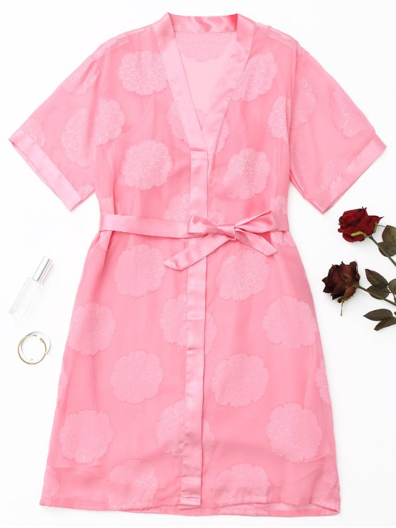 women's Floral Belted Night Robe Set - PINK M