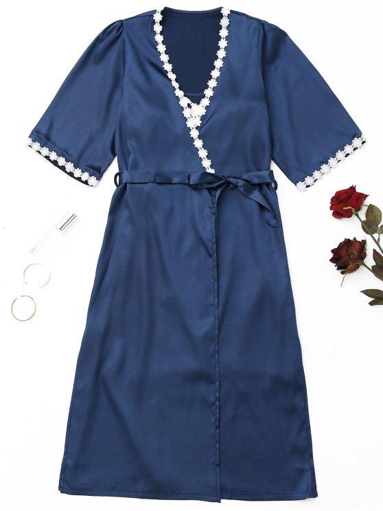 outfits Wrapped Satin Night Robe Set - PURPLISH BLUE M