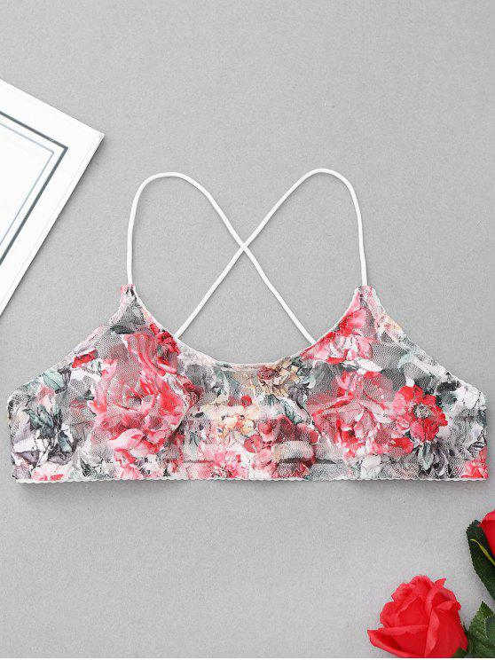 womens Floral Mesh Bralette - FLORAL S