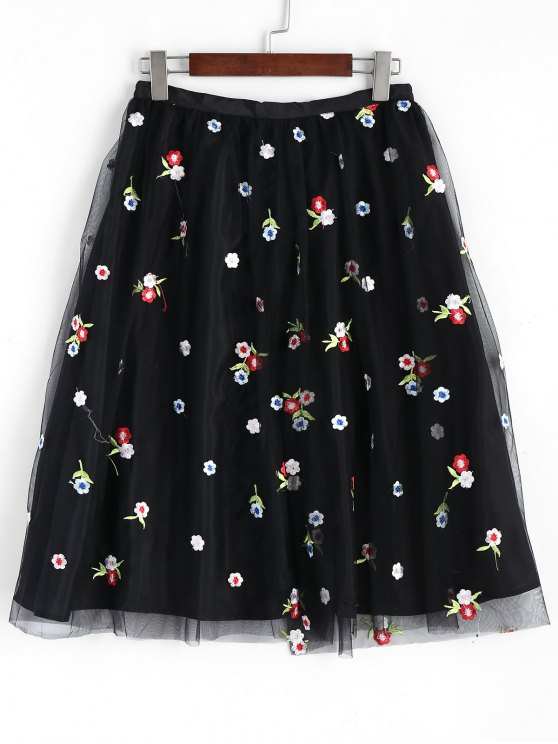 trendy Mesh Lined Floral Embroidered Midi Skirt - BLACK M