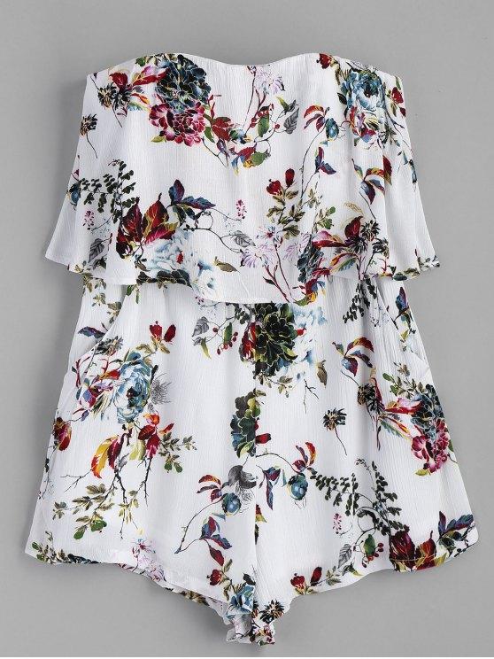 buy Strapless Floral Overlap Romper - WHITE L