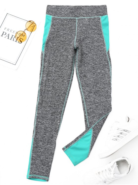 hot Heathered Sports Leggings - CYAN M