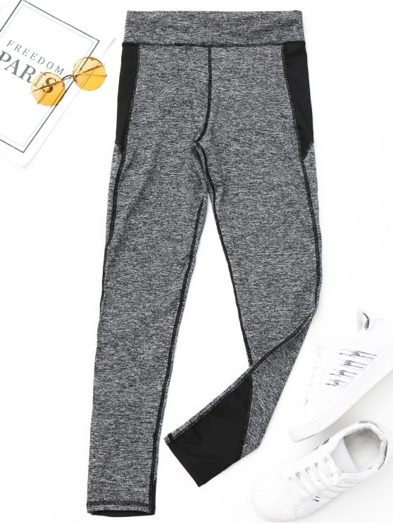 buy Heathered Sports Leggings - BLACK S