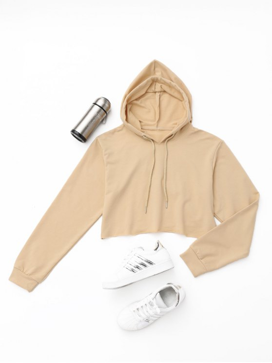 best Active Cropped Hoodie - KHAKI S