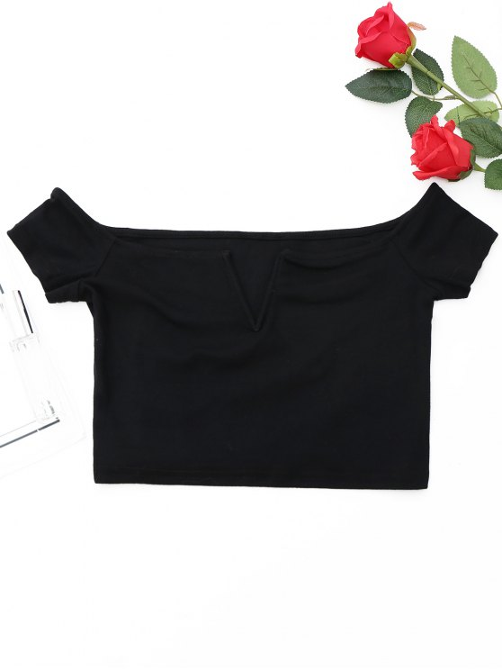 hot Off The Shoulder Cropped Top - BLACK M