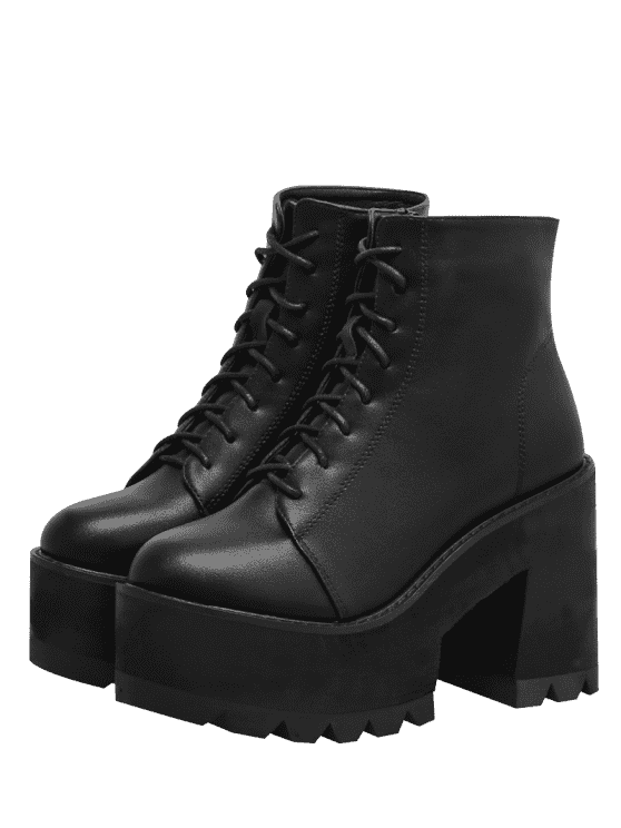 Chunky Heel Lace UP Platform Boots - Black 37