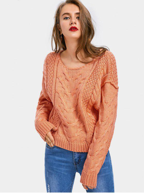 women Chunky Pullover Cable Knit Sweater - ORANGEPINK M
