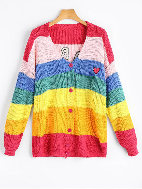 best V Neck Letter Patched Contrast Cardigan - MULTI ONE SIZE