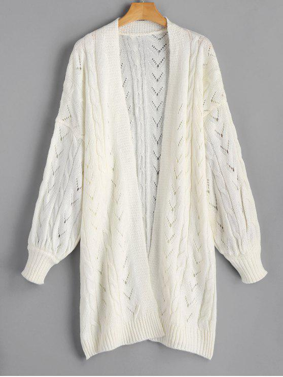 Hollow Out Cable Knit Longline Cardigan OFF-WHITE: Sweaters ONE ...