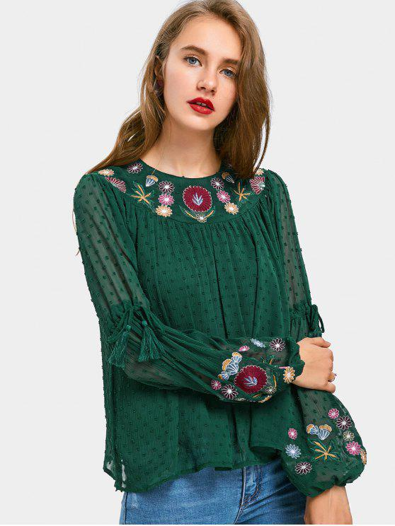 women Tassels Floral Embroidered Applique Blouse - GREEN L