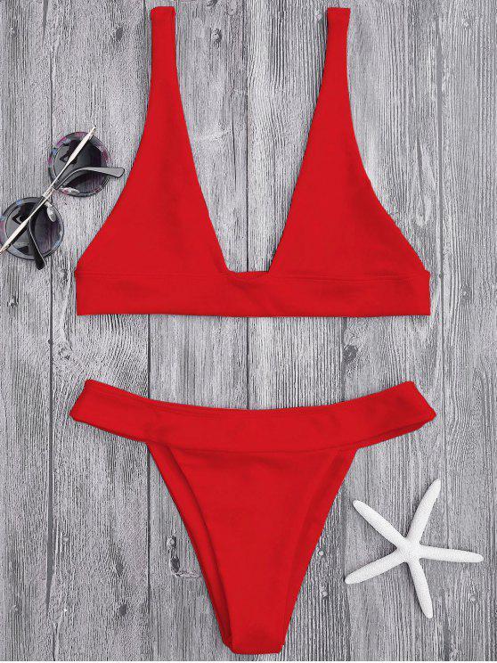 Haut de Bikini Plongeant et Culotte à Coupe Haute - Rouge Clair M