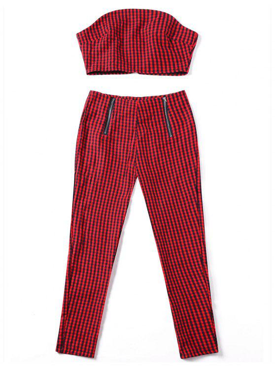 Plaid Tube Top con pantaloni a zip - Rosso XL