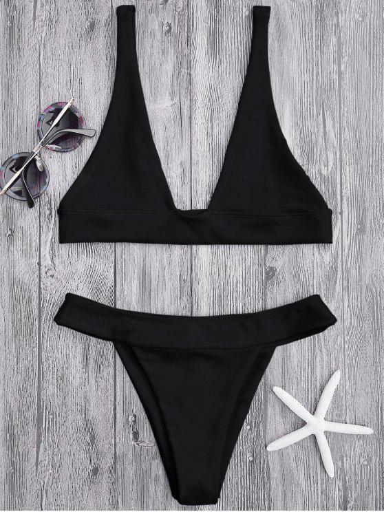 Haut de Bikini Plongeant et Culotte à Coupe Haute - Noir L
