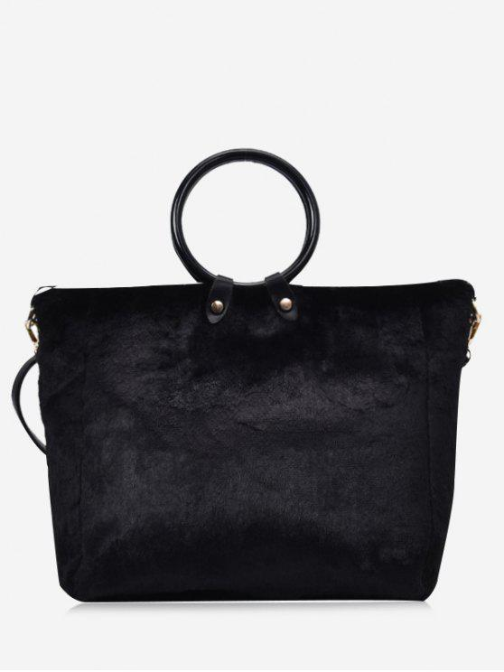 buy Round Handle Faux Fur Handbag With Strap - BLACK