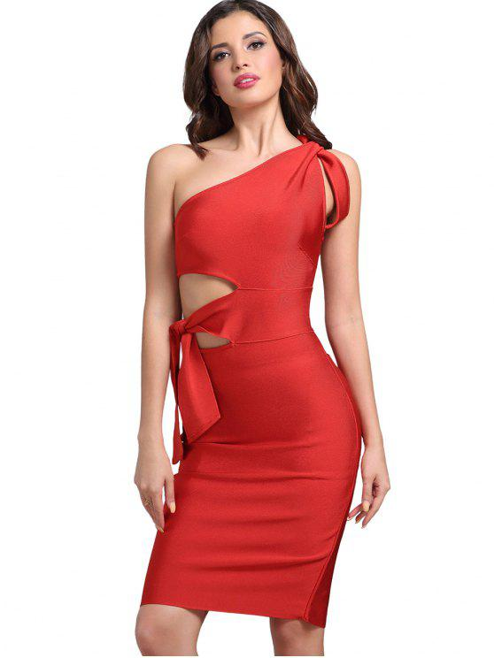 ladies One Shoulder Cut Out Fitted Dress - BRIGHT RED L
